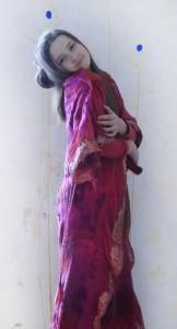 Vestido de lana, shifon, hilos diferentes