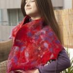 Bufanda. Matices de rojo