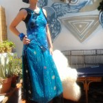 "Vestido ""Azul"" , lana con sari, shifon, technica nuno felt"